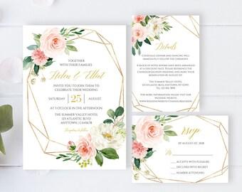 Blush Gold Geometric Editable Wedding Invitation Suite, Floral RSVP Details Printable Template, Blush Boho, Instant Download, Templett 503-A