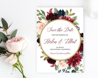 Merlot Navy Gold Floral Frame Editable Save the Date, Printable Save the Date DIY Template, Blush Pink Save Date, Instant Download 520-B