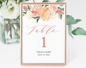 Coral Blush Editable Table Numbers, Floral Table Numbers, Pink Blush Boho Floral Table Number DIY Template, Instant Download Templett 501-A