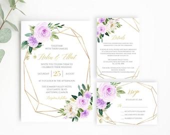 Lilac Gold Geometric Editable Wedding Invitation Suite, Floral RSVP Details Printable Template, Purple Boho, Instant Download Templett 511-A