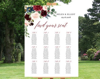 Merlot Navy Floral Editable Table Plan, Blush Boho Printable Seating Chart, 18 x 24 24 x 36 A1 A2 Template, Instant Download, Templett 520-B