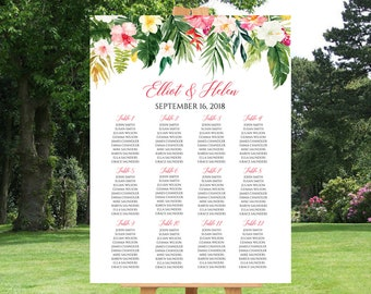 Tropical Floral Editable Table Plan, Pink Floral Greenery Seating Chart Plan, 18 x 24 24 x 36, DIY Template, Instant Download Templett 508-A