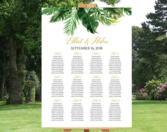 Tropical Greenery Editable Table Plan, Seating Chart, Foliage Seating Plan, 18 x 24 24 x 36, DIY Template, Instant Download, Templett 509-A