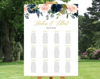 Navy Blush Gold Floral Editable Table Plan, Boho Printable Seating Chart, 18 x 24 24 x 36 A1 A2 Template, Instant Download, Templett 521-A