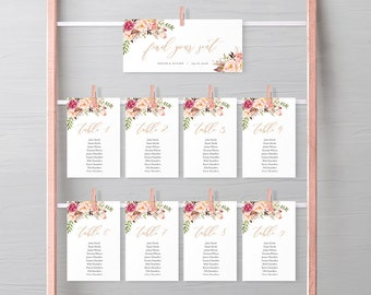 Rose Gold Boho Editable Seating Chart Template, Pink Floral Hanging Table Cards, Blush Table Seating Plan, Instant Download, Templett, 516-A