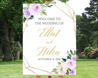 Purple Gold Geometric Editable Welcome Sign, Floral Unlimited Custom Signs 16 x 20 18 x 24 24 x 36, Template Instant Download Templett 511-A