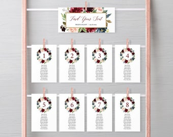 Merlot Navy Boho Editable Seating Chart Template, Burgundy Floral Hanging Table Cards, Table Seating Plan, Instant Download, Templett, 520-B