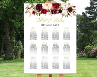 Marsala Gold Floral Editable Table Plan, Printable Burgundy Seating Chart Plan, 18 x 24 24 x 36, Template, Instant Download, Templett, 512-A