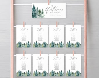 Rustic Woodland Editable Seating Chart Template, Mountains Trees Hanging Table Cards, Table Seating Plan, Instant Download, Templett, 515-A
