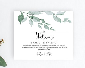 Greenery Editable Welcome Bag Labels, Leaves Printable Hotel Bag Label Template, Botanical Welcome Box Label Instant Download Templett 517-A
