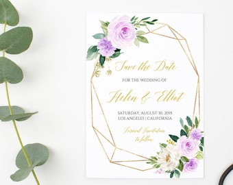 Lilac Gold Geometric Floral Editable Save the Date, Printable Save the Date DIY Template, Lavender Save Date Instant Download Templett 511-A