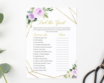 Purple Gold Geometric Editable Find the Guest Game, Lavender Floral Printable Bridal Shower Find Guest, DIY Template, Instant Download 511-A