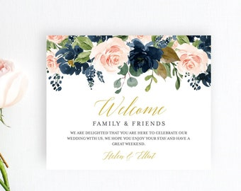 Navy Blush Floral Editable Welcome Bag Labels, Printable Hotel Bag Label Template, Boho Welcome Box Label, Instant Download Templett 521-A