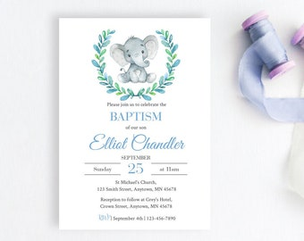 Blue Elephant Baptism Editable Invite, Printable Invitation Template, Boy Blue Christening Invitation, Naming Day, Instant Download, 305-B