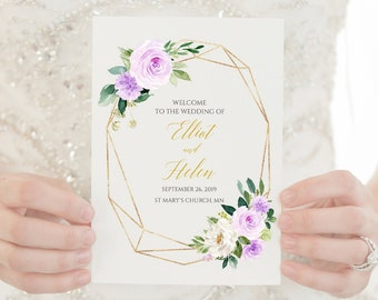 Purple Gold Geometric Booklet Program, Lilac Floral Foldable Wedding Program, Editable Printable Program DIY Template Instant Download 511-A