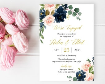 Navy Blush Gold Floral Editable Engagement Party Invitation, Pink Gold Printable Engagement Invite, DIY Template, Instant Download 521-A