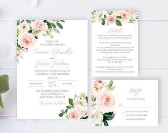 Blush Wedding Invite Etsy