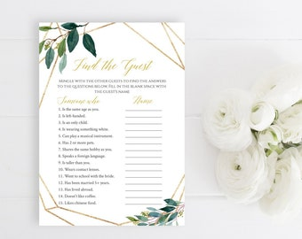 Greenery Gold Geometric Editable Find the Guest Game, Botanical Printable Bridal Shower Find Guest, DIY Template, Instant Download, 504-A
