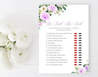 Purple Floral Editable He Said She Said Game, Lilac Green Grey Printable Bridal Guess Who Said It Game, DIY Template, Instant Download 519-A