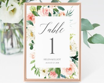 Blush Floral Editable Table Numbers, Printable Table Numbers, Pink Blush Boho Table Number, DIY Template, Instant Download Templett 505-A