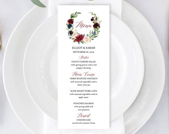 Merlot Navy Editable Menu, Burgundy Floral Wreath Table Wedding Menu, Printable Boho Menu, DIY Template Calligraphy, Instant Download, 520-B
