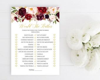 Marsala Gold Floral Editable Would She Rather Game, Burgundy Blush Gold Printable Bridal Shower Game, DIY Template, Instant Download 512-A