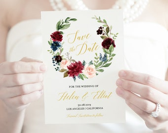 Navy Merlot Gold Floral Wreath Editable Save the Date, Printable Save the Date DIY Template, Blush Pink Save Date, Instant Download 520-A