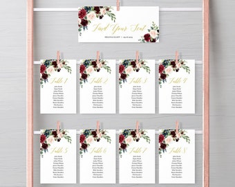 Gold Merlot Boho Editable Seating Chart Template, Burgundy Floral Hanging Table Cards, Table Seating Plan, Instant Download, Templett, 520-A