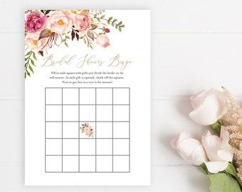 Pink Rose Gold Floral Editable Bridal Bingo Game, Blush Gray Boho Printable Bridal Shower Bingo Game, DIY Template Instant Download 516-A