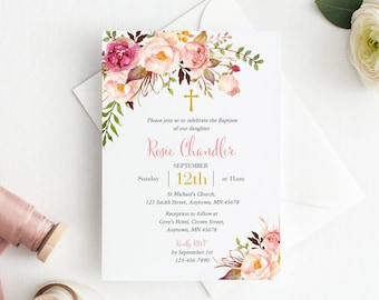 Pink Gold Floral Editable Baptism Invite, Printable Boho Baptism Invitation Template, DIY Christening Naming Day, Instant Download 308-PG