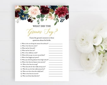 Merlot Navy Gold Editable What Did the Groom Say Game, Burgundy Blush Printable Bridal Shower Game, DIY Template, Instant Download, 520-A