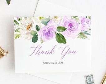 Purple Printable Thank You Cards, Editable Lavender Floral Thank You Cards, DIY Template, Boho Floral Thank, Instant Download Templett 519-A