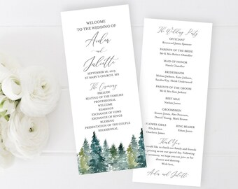 Woodland Editable Program, Rustic Wedding Program, Printable Evergreen Spruce Trees Program, DIY Template Calligraphy Instant Download 515-A