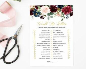 Navy Merlot Gold Floral Editable Would She Rather Game, Burgundy Navy Gold Printable Bridal Shower Game, DIY Template Instant Download 520-A