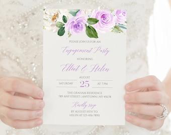 Lavender Floral Editable Engagement Party Invitation, Floral Engagement Invite DIY Template, Purple Boho, Instant Download, Templett 519-A