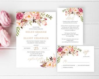 Rose Gold Boho Editable Wedding Invitation Suite, Pink Floral RSVP Details Printable Template, Blush Boho, Instant Download, Templett 516-A