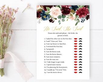 Merlot Navy Gold Editable He Said She Said Game, Burgundy Floral Printable Bridal Guess Who Said Game, DIY Template, Instant Download 520-A
