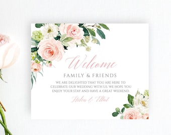 Blush Pink Floral Editable Welcome Bag Labels, Boho Printable Hotel Bag Label Template, Pink Floral Welcome Box Label Instant Download 505-A
