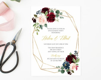 Burgundy Navy Gold Geometric Editable Engagement Party Invitation Blush Gold Printable Engagement Invite DIY Template Instant Download 518-A