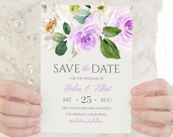 Purple Floral Editable Save the Date, Lavender Lilac Green Printable Save the Date Template, Boho Save Date, Instant Download Templett 519-A
