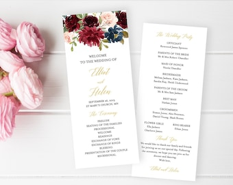Merlot Navy Gold Editable Program, Burgundy Floral Wedding Program, Blush Printable Program, DIY Template Instant Download Templett 520-A