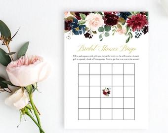 Merlot Navy Gold Editable Bridal Bingo Game, Burgundy Gold Floral Printable Bridal Shower Bingo Game, DIY Template, Instant Download, 520-A
