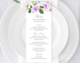 Lavender Editable Menu, Purple Floral Table Wedding Menu Printable Green Lilac Menu DIY Template Calligraphy Instant Download Templett 519-A