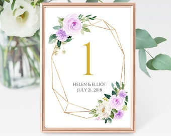 Lilac Gold Geometric Editable Table Numbers, Purple Printable Table Numbers, Lavender Table Number, Template Instant Download Templett 511-A