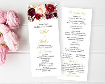 Marsala Gold Floral Editable Program, Burgundy Blush Floral Wedding Program, Printable Program, DIY Template Instant Download Templett 512-A
