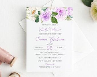 Purple Floral Editable Bridal Shower Invitation, Lavender Boho Bridal Shower Invite, Lilac DIY Template, Instant Download, Templett 519-A