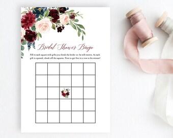 Merlot Navy Blush Editable Bridal Bingo Game, Burgundy Navy Floral Printable Bridal Shower Bingo Game, DIY Template, Instant Download, 520-B