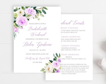 Purple Green Floral Editable Bachelorette Party Invitation, Itinerary, Bachelorette Weekend, Printable DIY Template, Instant Download, 519-A