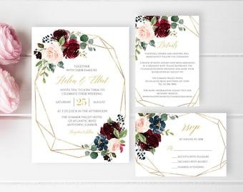 Burgundy Navy Gold Geometric Editable Wedding Invitation Suite, Blush Boho Floral RSVP Details Printable Template, Instant Download, 518-A
