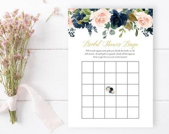 Navy Blush Gold Editable Bridal Bingo Game, Pink Navy Gold Floral Printable Bridal Shower Bingo Game, DIY Template, Instant Download, 521-A